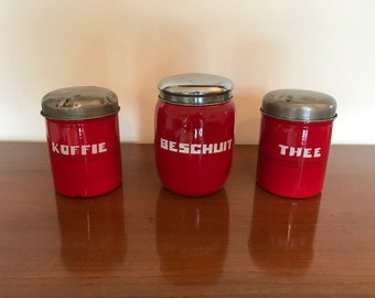 3 antique containers / red / art deco / canisters / kitchenware / 1930s