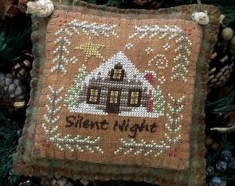 Silent Night Primitive Rustic Christmas Cross Stitch Chart Digital Pattern