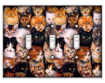 Cat Kitten Light Switch Triple Plate Cover