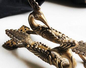 Exqiuiste Pair Of Hand Casted Brass Peacock Door Handles, L 21 Cm X W 4 Cm  X H 11 Cm, Door Pulls, Home Decor, Door Decor, Vintage Home