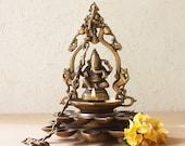 Vintage Brass Oil Lamp Of Lord Ganesha With 20 Diyas Flanked by Swans The Mythical Yalis, Length 78 cm x Dia 23 cm, Religious Home Decor