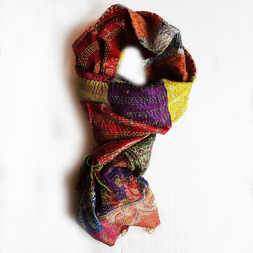 fd93d106ba2 Handmade Kantha Cotton Silk Scarf In Vibrant Red, Green, Orange, Fashion  Accessory, L206 cm x W 60 cm, Patchwork Silk Scarf, Silk Stole