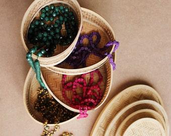 Set Of 4 Handcrafted Wicker Baskets, Indian Handicraft, Handwoven Cane Baskets, Storage Baskets,
