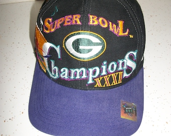 Vintage 90s Super Bowl XXXI Champions Green Bay Packers Cap Hat Embroidered  NFL Football Cheeseheads One Size Fits All 7e2cd9b05