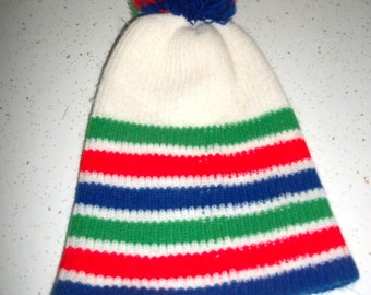 80s Rainbow Striped Pom Beanie Hat Cap Snowboard Ski 1980s Hipster Hat  Skull Cap Touque Retro Fashion Unisex Adult aa897efad011