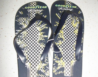 fcced8b8b30 Vintage NASCAR GOOD YEAR Novelty Flip Flops Thongs Sandals Navy Car Racing  Checkered Flag New Old Stock Unisex Mens Size 7-8