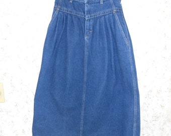 f5dc77d3b01 Retro 90s Lee Denim High Waisted Modest Skirt Maxi A Line Western Cowgirl  Boho 1990s Vintage Blue Jean Skirt Dark Wash Womens 26 Waist