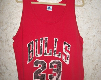 a2ba93864c1 Vintage 90s Michael Jordan Chicago Bulls Starter Tank Top Distressed  Trashed Red Worn Shirt Sleeveless NBA Grunge Tee Unisex Mens XL