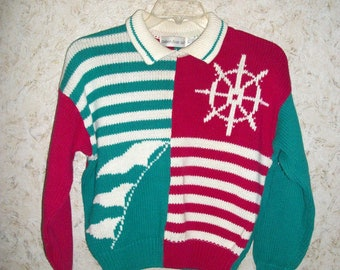 c4e2f7b05658 90s Color Block Nautical Cropped Sweater Boxy Baggy Teal Raspberry Stripes  Long Sleeve 1990s Boho Retro Pullover Vintage Womens Large