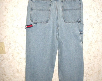 90s Tommy Hilfiger Carpenter Jeans Baggy Grunge Large Flag Logo Patch 1990s  Hip Hop Retro Fashion Worn Faded Vintage Mens 35 Inch Waist cd6812dbdb47