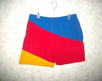 dacd933f14 90s COLOR BLOCK Campus Swim Trunks Shorts Blue Red Yellow Swimming Suit  Hipster Vintage 1990s Retro Hip Rad Fashion Mens Large 36