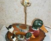 60s Hand Carved Wooden Mallard Duck Lamp Decoy Rustic Cabin Man Cave 1960s Retro Decor Mid Century Mod Duck Hunter
