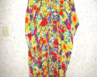 cfb8b0819101 60s 70s Flower Power Kaftan Muu Muu Dress Polyester Hawaiian Bohemian Boho  1970s Mod Beach Cover Up Lounge Dress Womens Medium Large