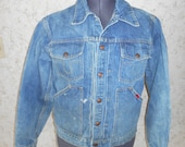70s Denim Big Smith Blue Jean Jacket Distressed Grunge Hipster 1970s Rockabilly Bohemian Boho Trucker Rocker Western Unisex Killer Rad