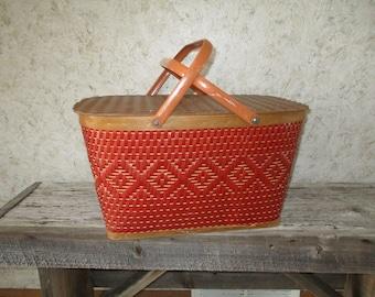 Large Picnic Basket Vintage Wooden Basket Red Man Quality Baskets Co