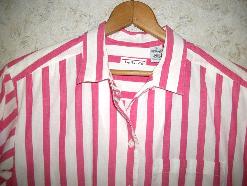 90s PINK WHITE Striped Blouse Shirt Baggy Oversized Summer Top Short Sleeves Boho Grunge 1990s Retro Fashion Top Womens Medium