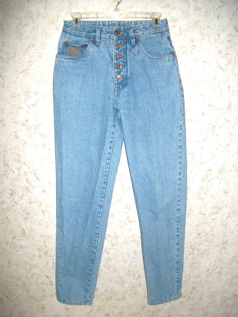 7ba28a4aa74d2 90s Paris Sport Club Button Fly Jeans High Waist Mom Blue