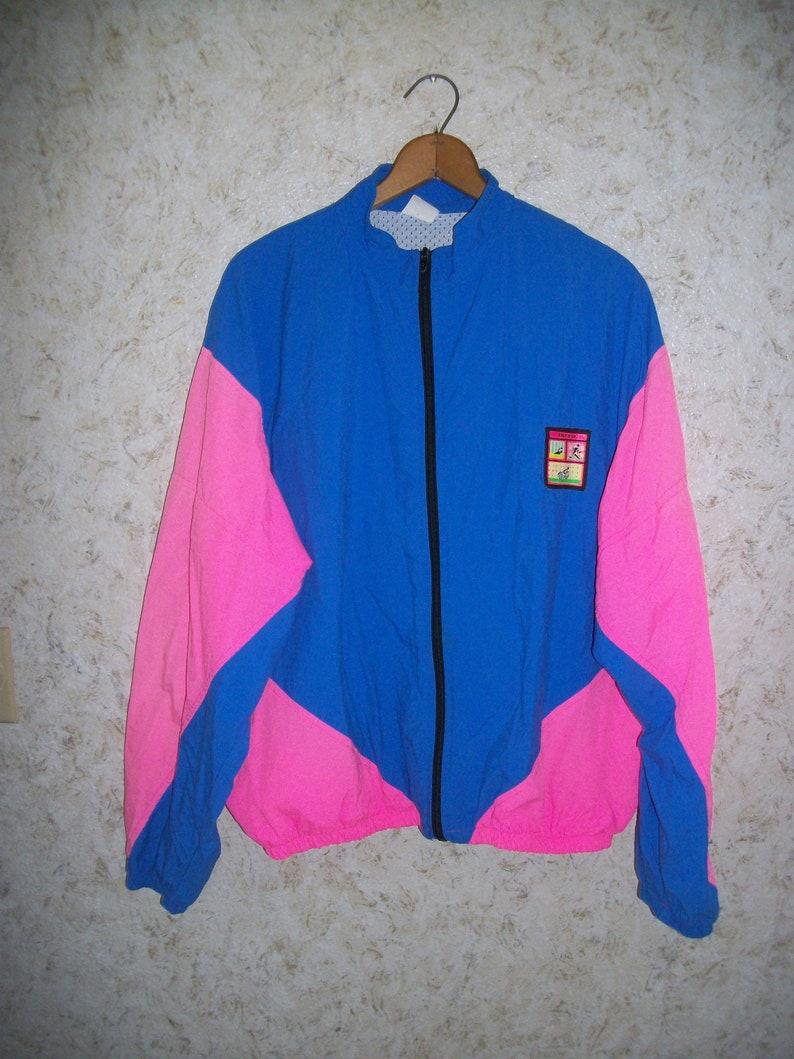 0f714f1e5c0d2 90s NEON WINDBREAKER Jacket Coat Pink Blue Track Jogging Tri Fit Workout  Jacket Zippered Front Rad Hip Hop 1990s Retro Fashion Mens XXL