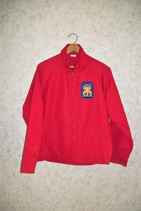 Retro 70s Orange Novelty Patch Windbreaker Men/'s Medium Vintage Zip Up Lightweight Jacket