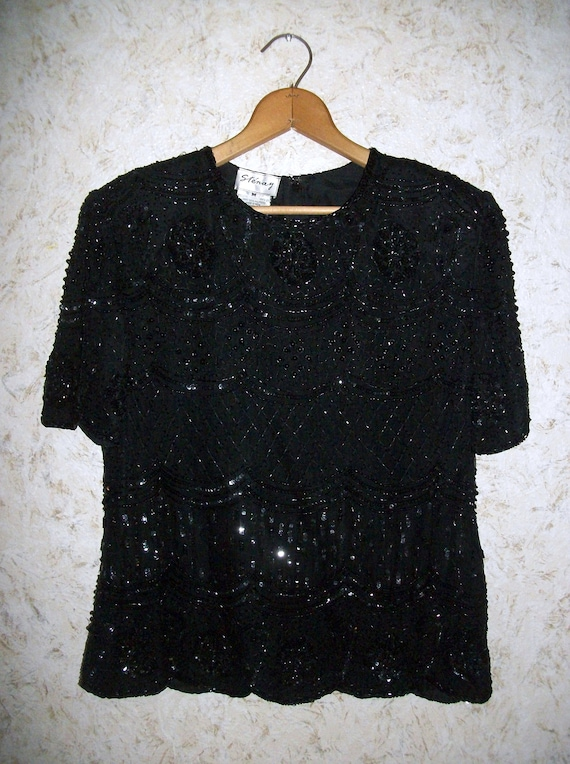 Cocktail Blouse Vintage Beaded Blouse Womens blouse Holiday blouse Beaded blouse Silk blouse