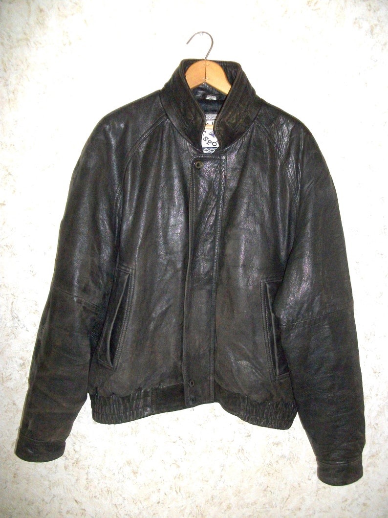 09b4d9b3 Vintage Leather Bomber Jacket 90s Cafe Racer Dark Chocolate Brown Zippered  Front Quilted Lining Winter Coat Biker Hipster Mens XL