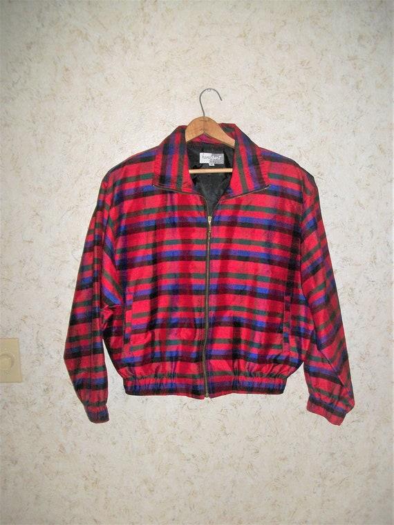 Vintage 80s Red Plaid Silk Bomber Jacket Padded S… - image 1