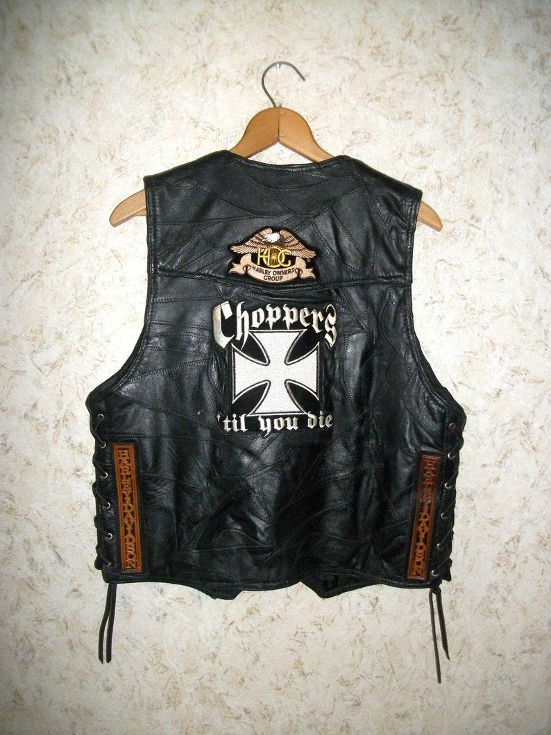 e52e8d244 90s LEATHER BIKER Vest Harley Davidson Patches Black | Etsy