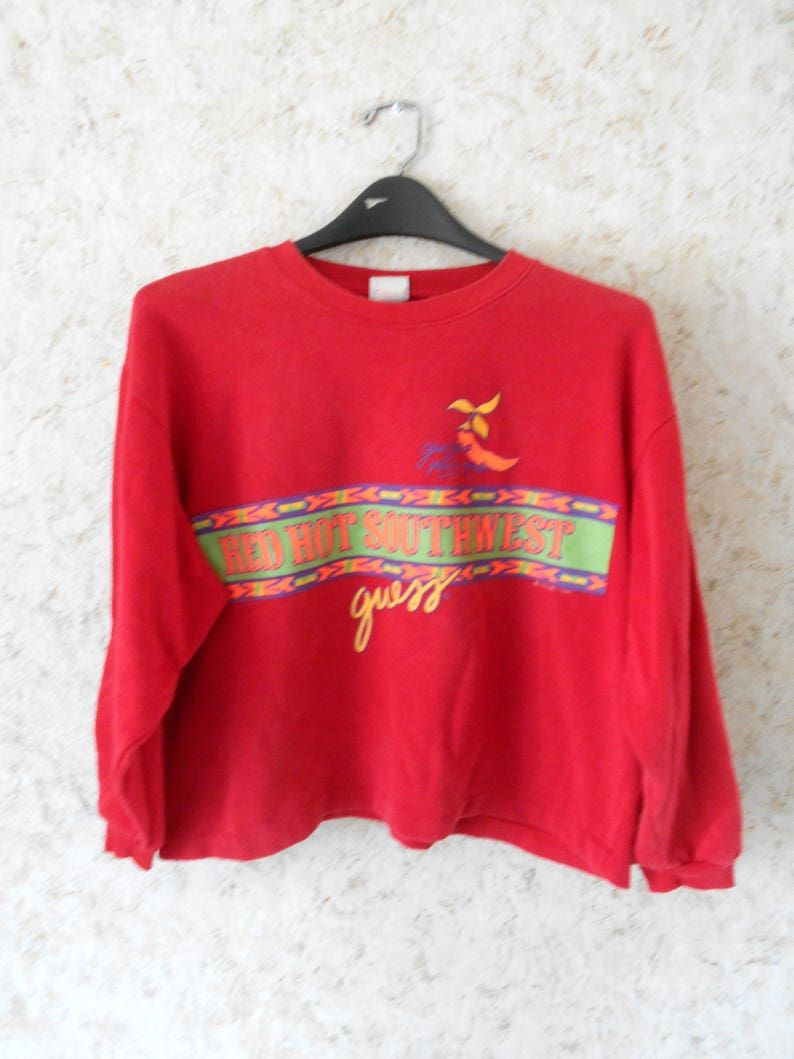 Vintage 1980s Guess by Georges Marciano Red Crop Top Sweatshirt Red Hot Southwest Retro Oversize Long Sleeve Boho Made USA  Womens One Size