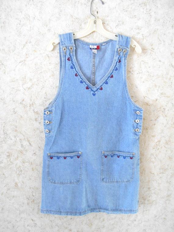 506de399db298 Vintage 90s Denim Jean Jumper Dress Embroidered Summer JL NY