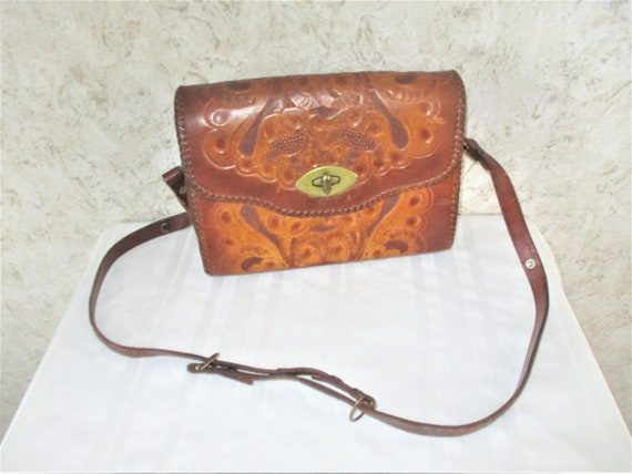 70s Boho Hand Tooled Leather Western Purse Brown L