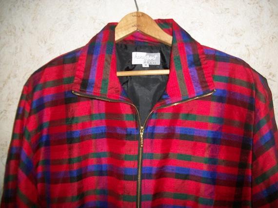 Vintage 80s Red Plaid Silk Bomber Jacket Padded S… - image 2
