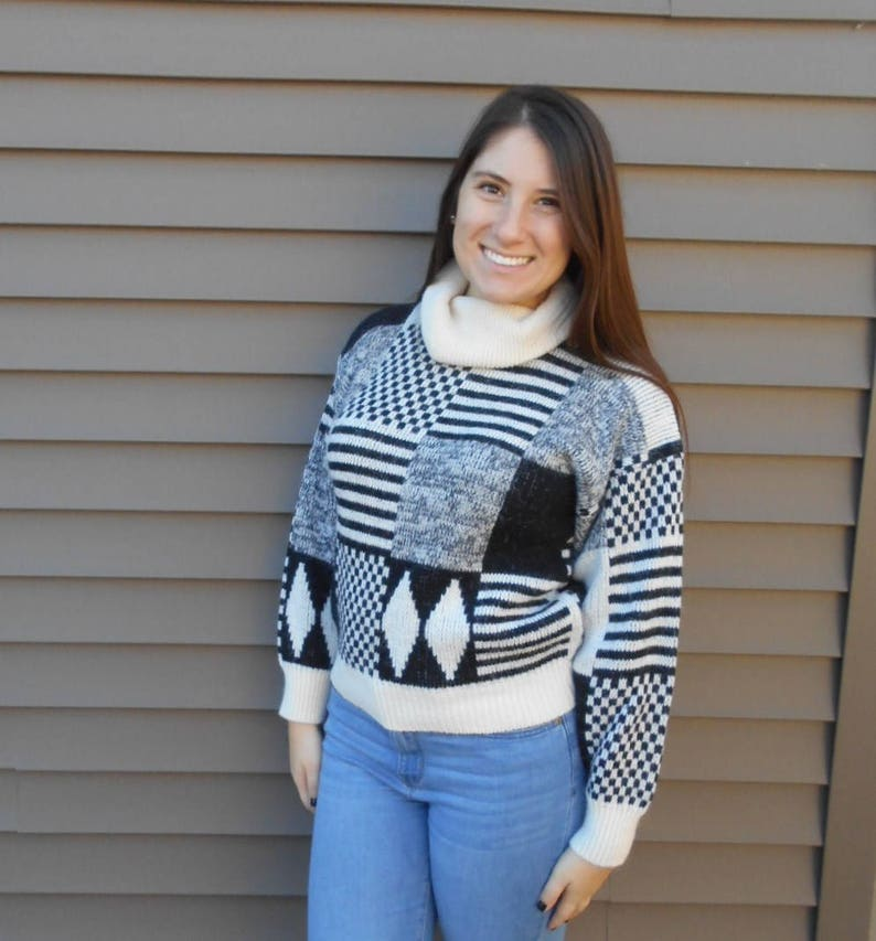 a13a8a85a6 Vintage 80s Patchwork Black Cream Cropped Sweater Turtleneck | Etsy