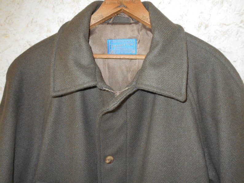 Vintage Pendleton Wool Long Overcoat Business Coat Army Green Olive Dinner Winter Cold Thinsulate Lined Retro Classic Made USA Mens Size 42
