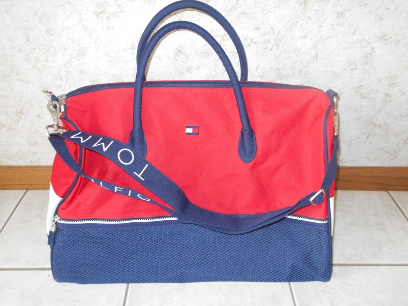 Vtg 90s Tommy Hilfiger Travel Duffle Tote Gym Bag Spellout  26395e6218261