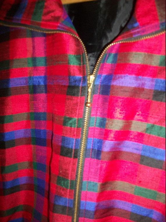 Vintage 80s Red Plaid Silk Bomber Jacket Padded S… - image 4