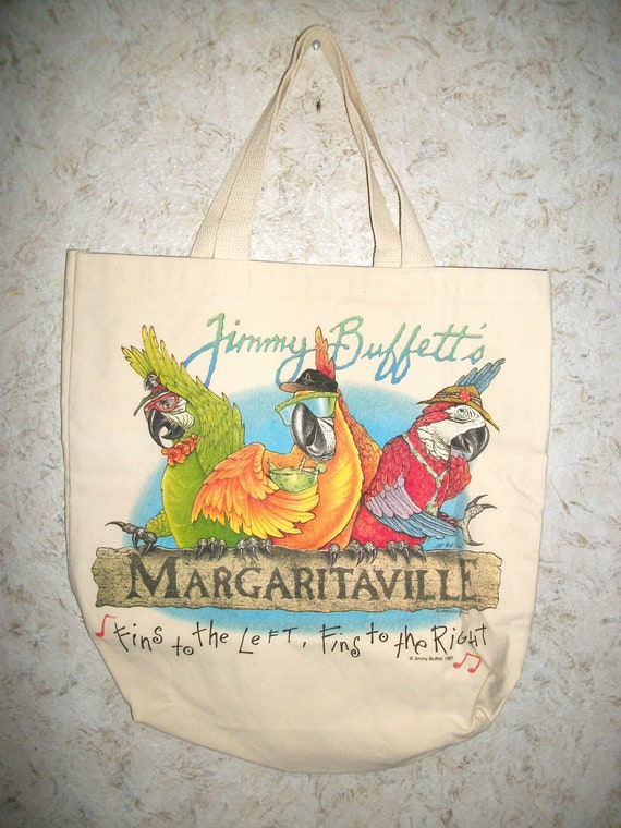 90s Jimmy Buffetts Margaritaville Graphic Tote Bag Parrots  805bb663c04f