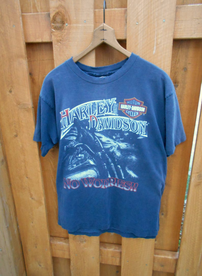 f39e6a59 Vintage 80s 90s Harley Davidson Worn Graphic Tee Trashed T   Etsy