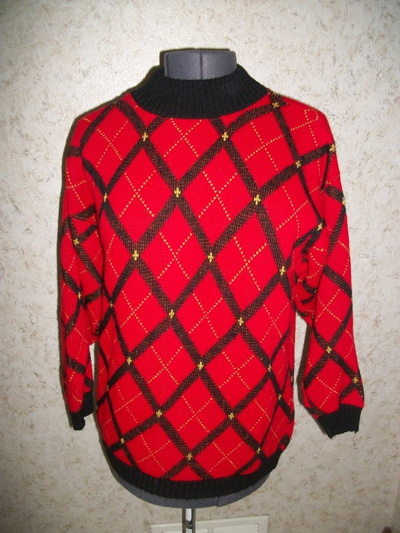 80s Knit Long Oversized Sweater Red Black Diamond Design Turtleneck Collar Holiday Pullover Winter 1980s Retro Fashion Womens Small