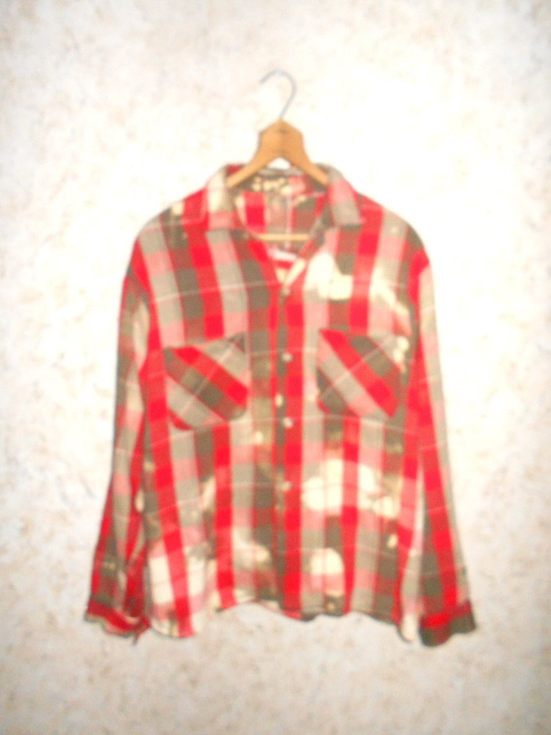 15aeb842774 Vintage Bleach Stained Distressed Red Plaid Button Front