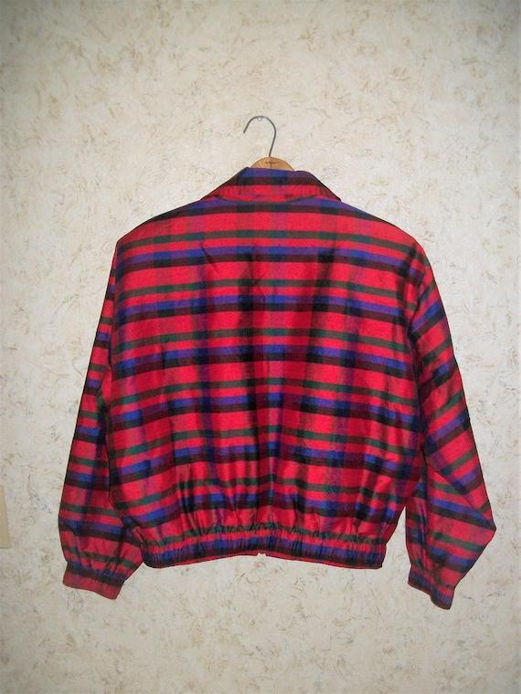 Vintage 80s Red Plaid Silk Bomber Jacket Padded S… - image 5