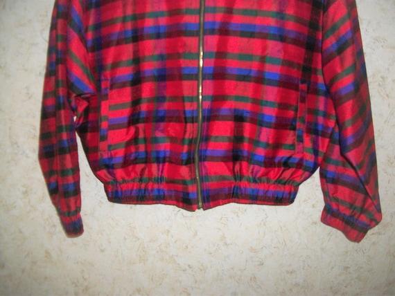 Vintage 80s Red Plaid Silk Bomber Jacket Padded S… - image 3