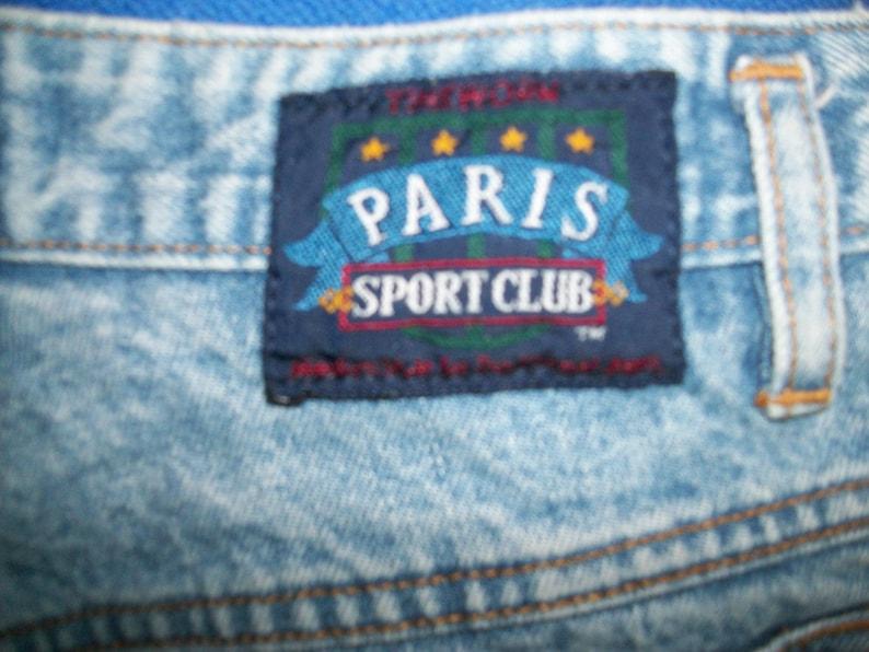90s Paris Sport Club Button Fly Jeans High Waist Mom Blue Jeans Denim 1990s Retro Fashion Boho Tapered Leg Womens 27 Inch Waist
