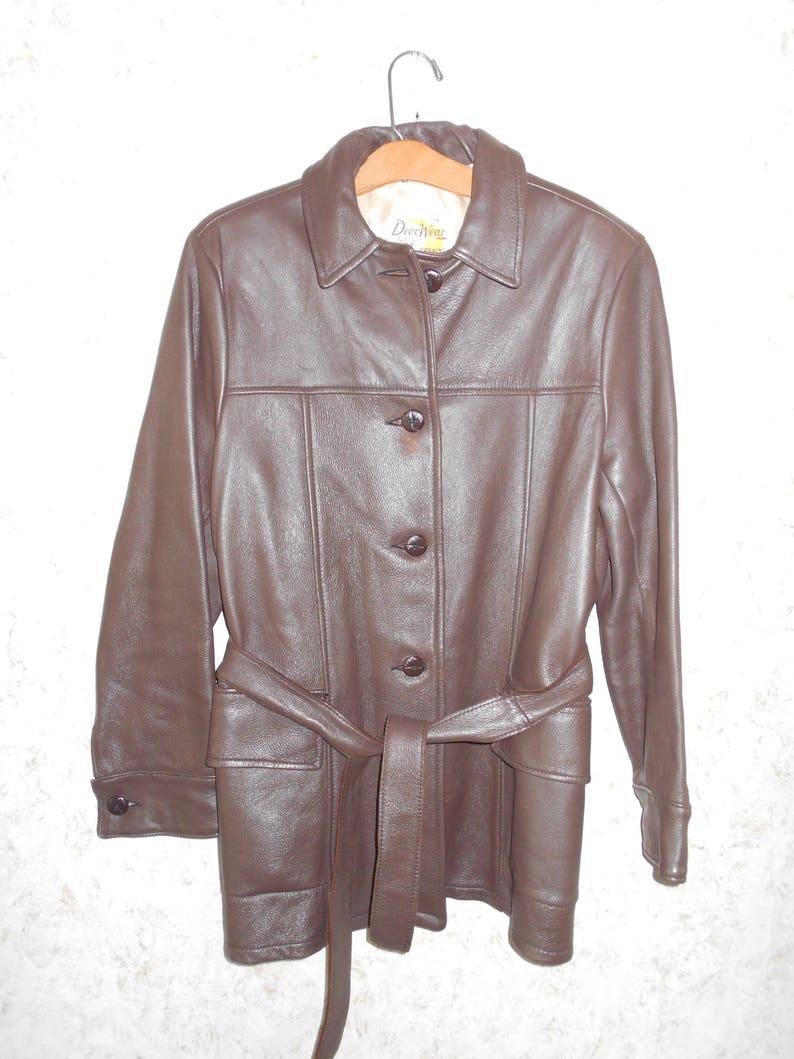6ca7a215 Vintage Mid Western Sport Togs Deerskin Dark Brown Leather | Etsy