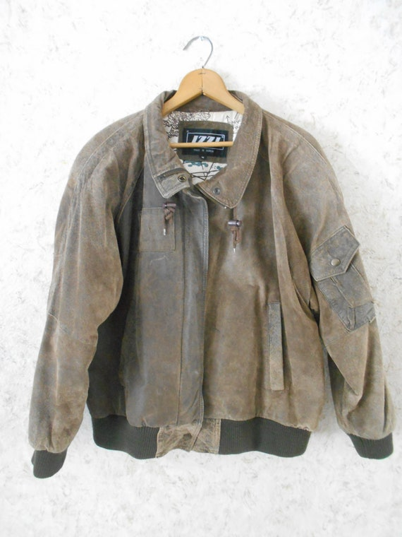 3a49a468c89 80s IZZI Suede Leather Bomber Aviator Jacket Worn Distressed