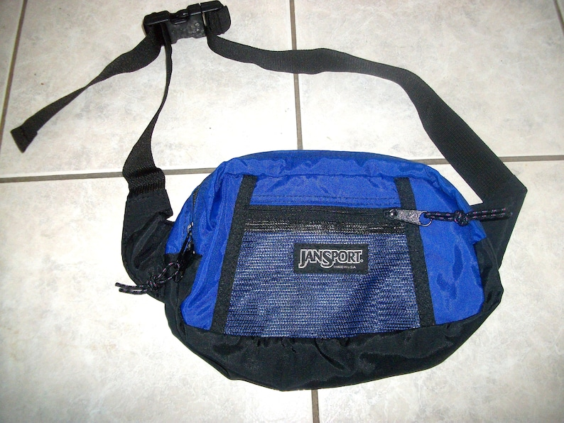 43fc96163b7 Vtg 80s 90s JanSport Nylon Fanny Pack Waist Pack Hip Bag Blue
