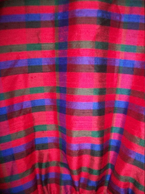 Vintage 80s Red Plaid Silk Bomber Jacket Padded S… - image 6