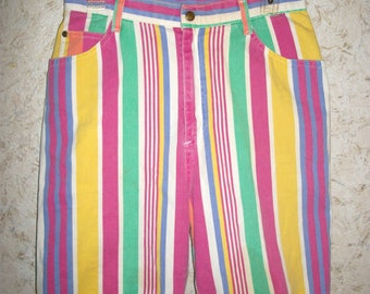Vintage 90s Striped Shorts Long High Waisted Mom Shorts Retro 1990s Summer Beach Party Boho Pink Purple Yellow Stripes Womens 29 Inch Waist