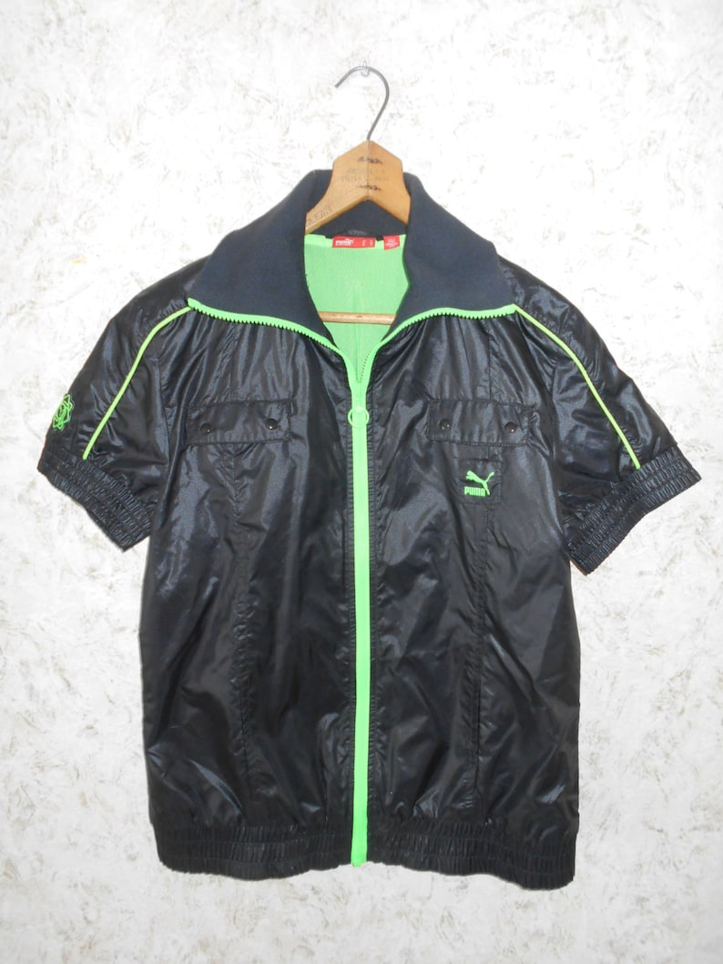 61635950866 Vintage Puma Black Nylon Zippered Front Jacket Short Sleeves Neon Green  Trim Punk Rock Workout Retro Womens