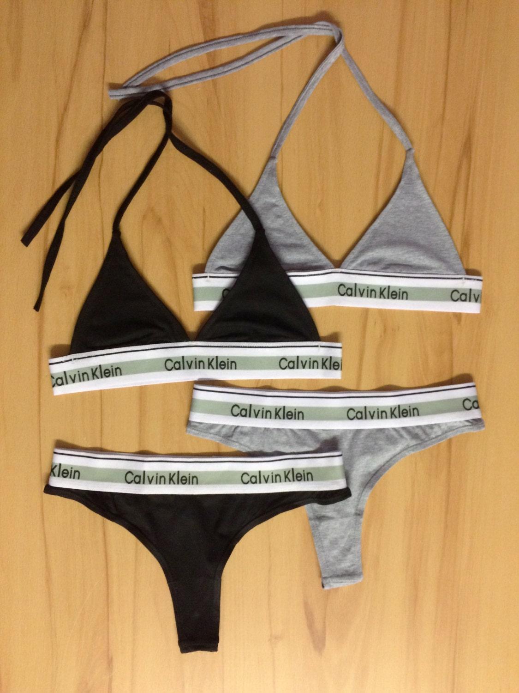 07f1208786a8 Reworked Underwear Set Calvin Klein Triangle Bra and Thong in   Etsy