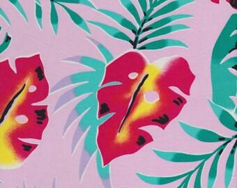 hawaii tropical leaves dress fabric cotton tiki craft cloth etsy